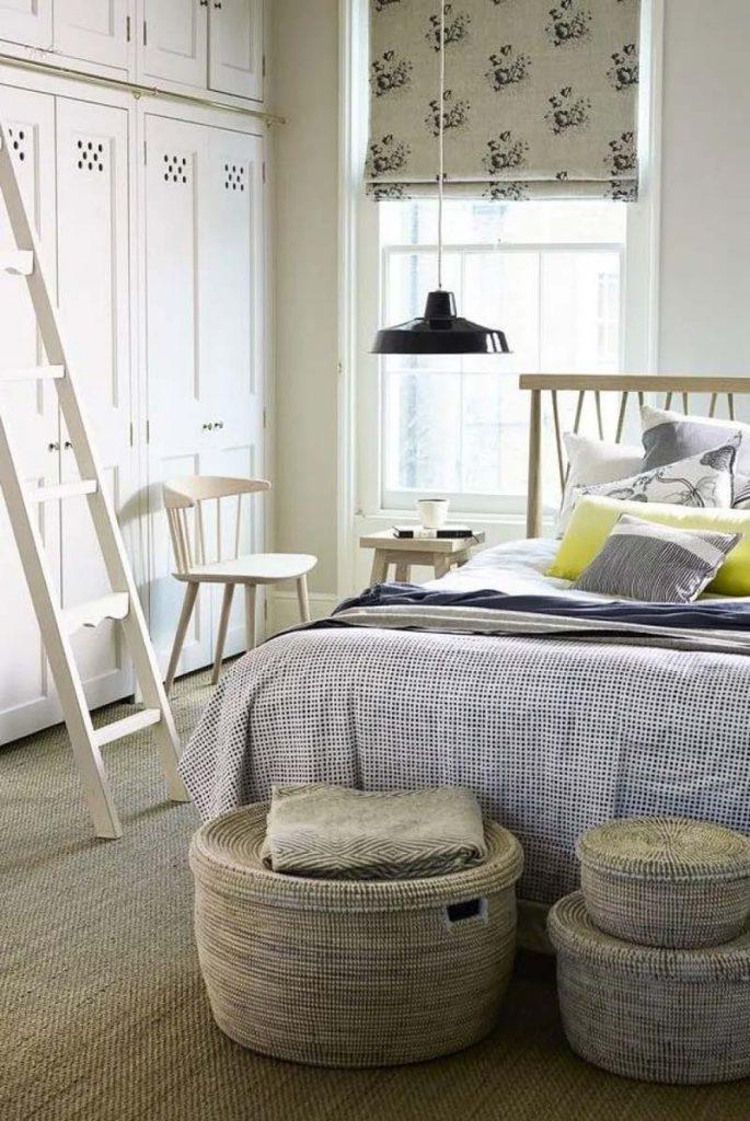 slaapkamer decoratie ideeen opbergmanden