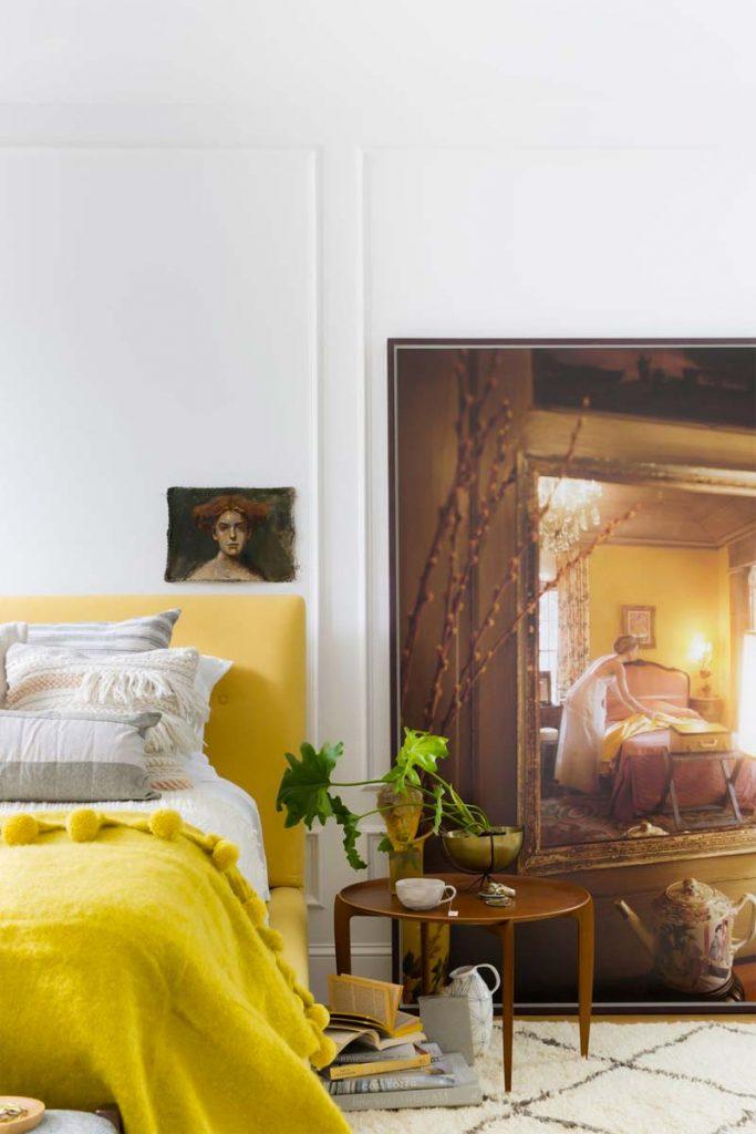 slaapkamer decoratie ideeën schilderij op de vloer