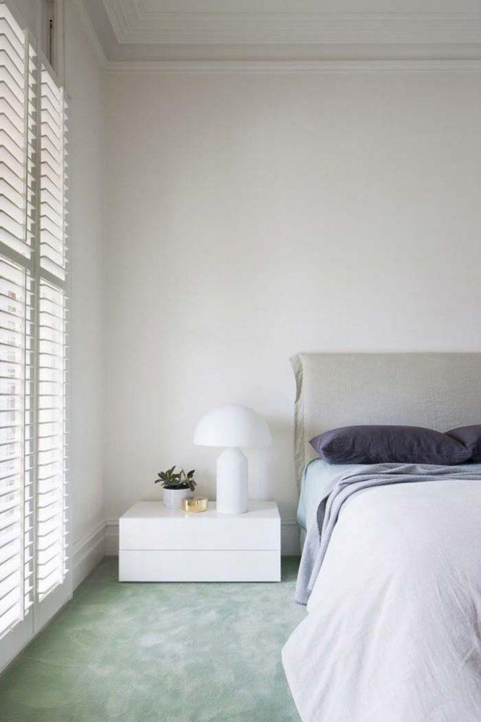 slaapkamer decoratie ideeen statement tapijt - mintgroen tapijt