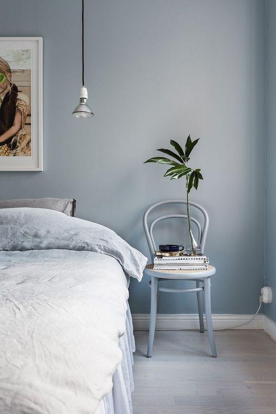 slaapkamer ideeën blauwe muur