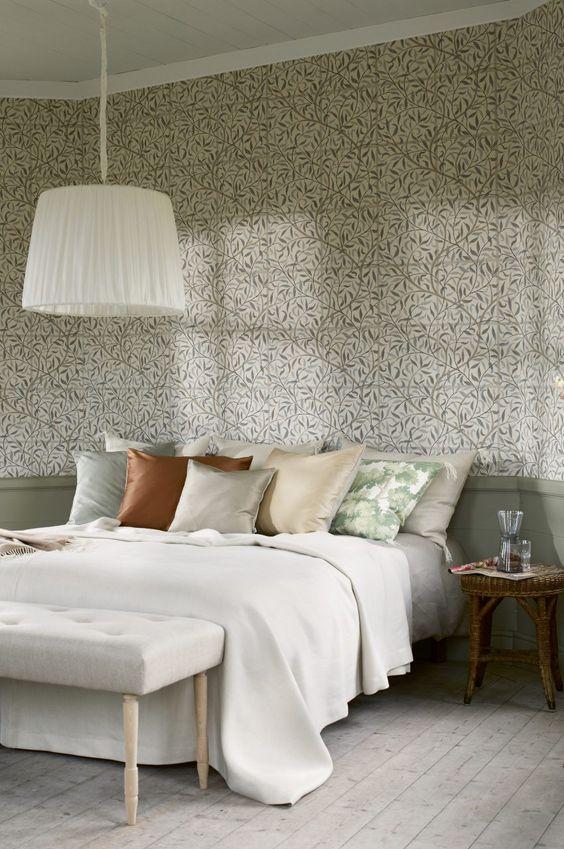 slaapkamer ideeën bloemetjes behang