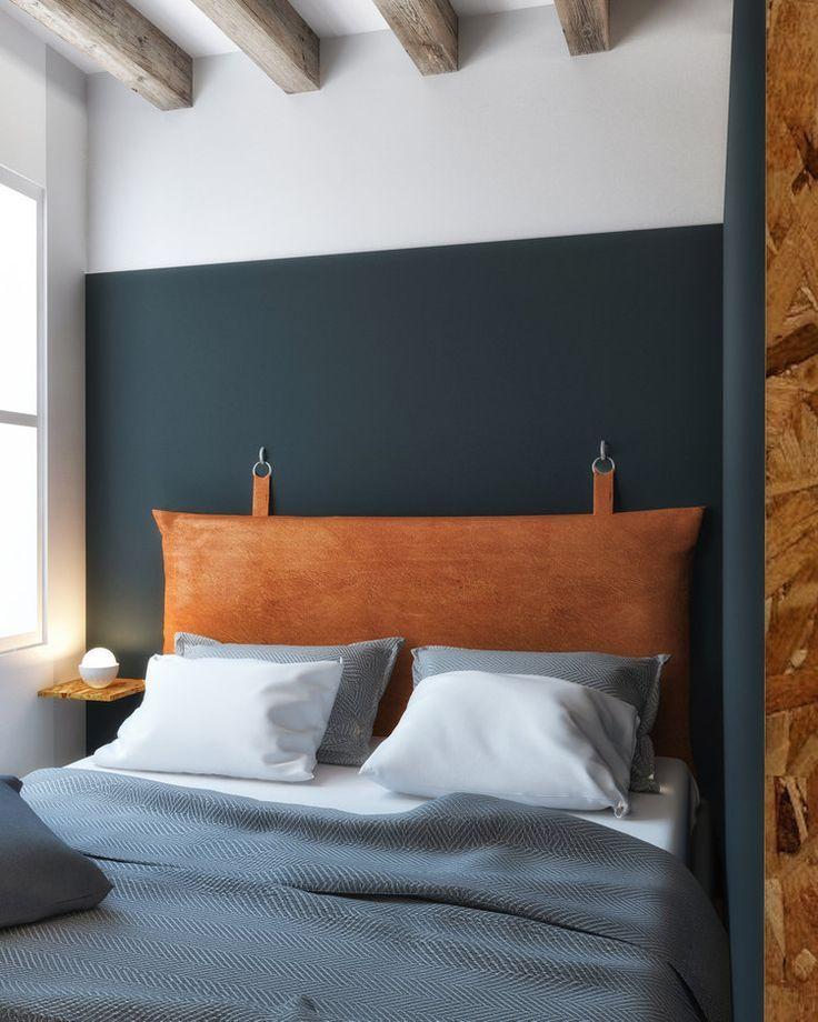 slaapkamer ideeën bruine leren hoofdbord