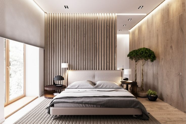 slaapkamer ideeën houten wandbekleding