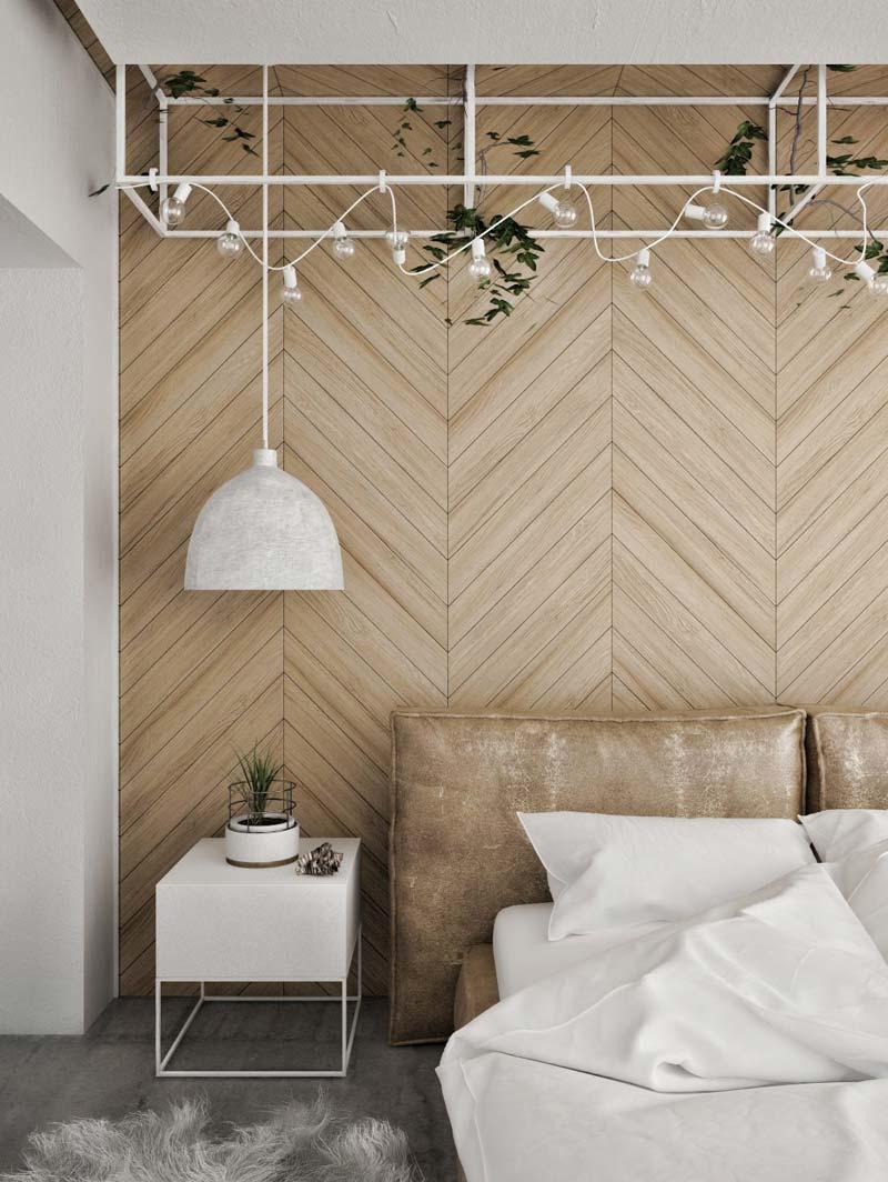 slaapkamer ideeën houten wandbekleding visgraat