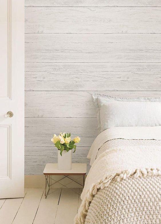 slaapkamer ideeën houten wandbekleding behang
