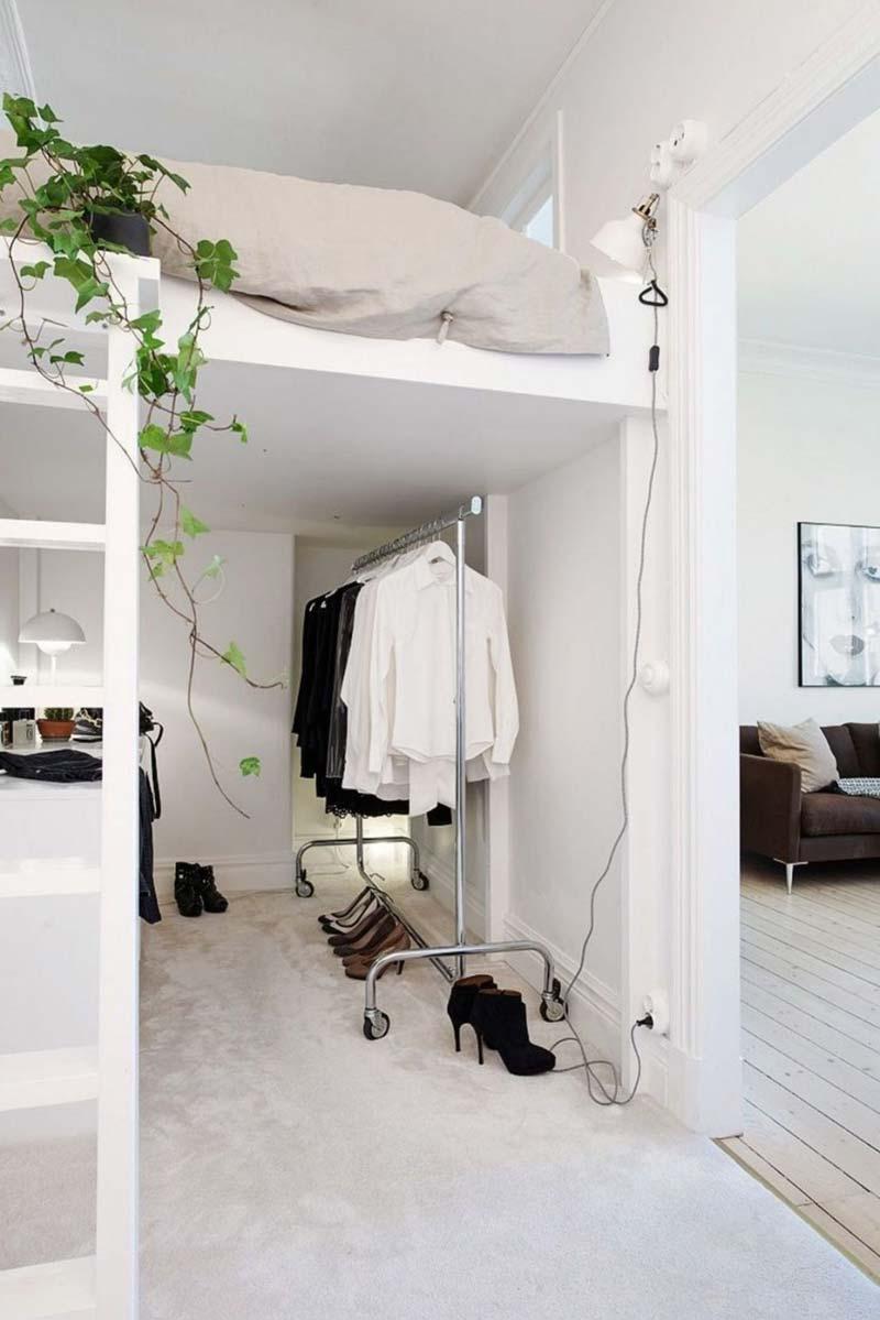 slaapkamer ideeën inloopkast-onder-hoogslaper