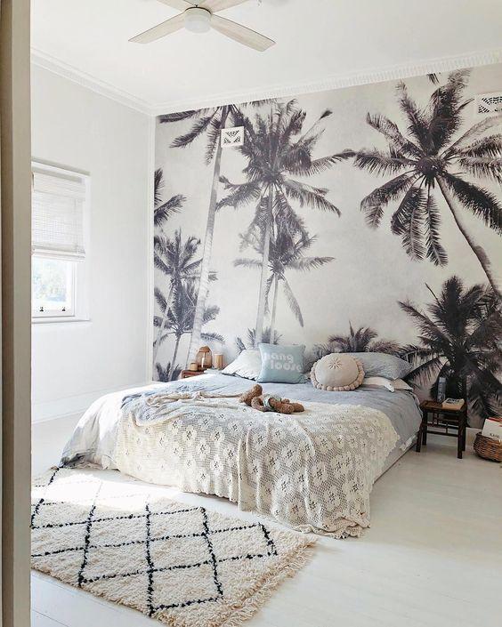 slaapkamer ideeën jungle behang