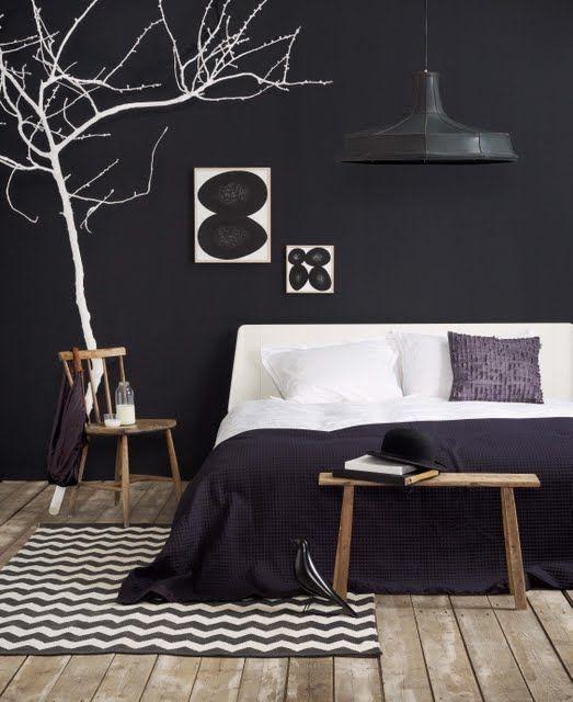 Slaapkamer muur zwart schilderen