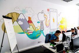 Speelse muur op kantoor