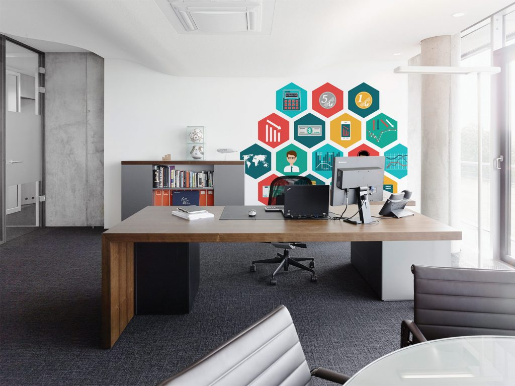 Speelse muur op kantoor homease for Kantoor in woonkamer