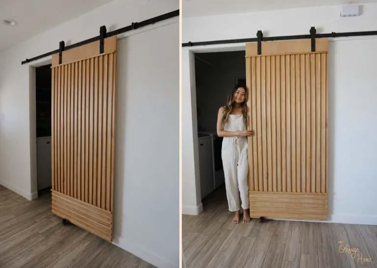 stijlvolle houten schuifdeur maken houten latten
