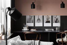 Stijlvolle minimalistische werkplek in Scandinavisch appartement