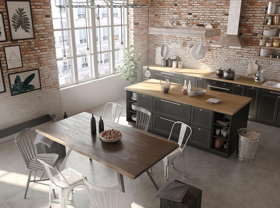 Stoere industriële woonkamer met bakstenen muren