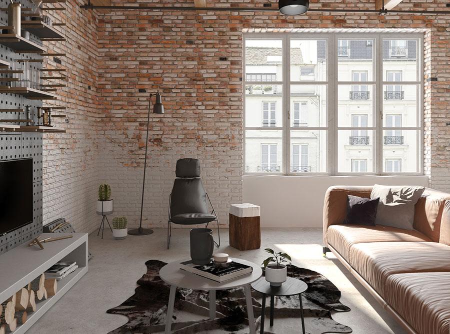 Stoere industriële woonkamer met bakstenen muren | HOMEASE