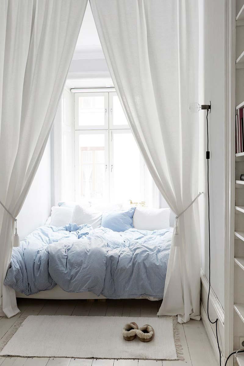 studentenkamer inrichten gordijnen voor bed