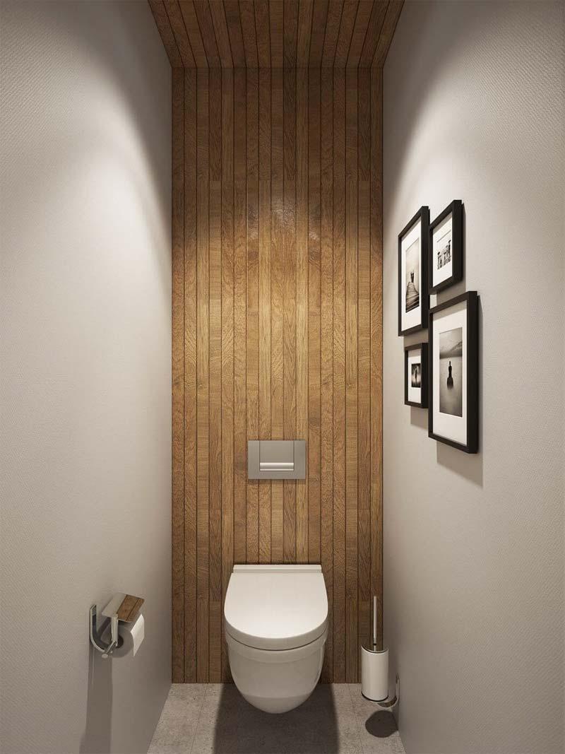 toilet inspiratie houten wandbekleding