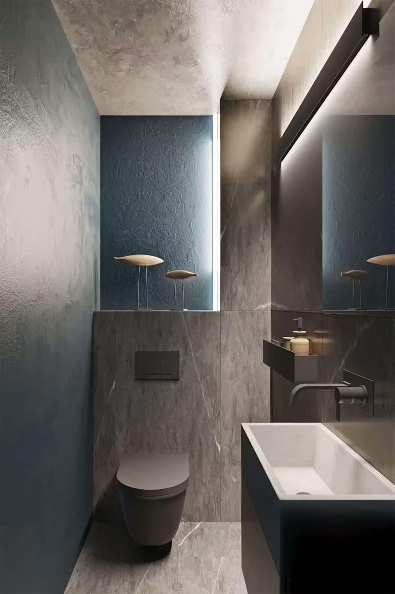 toilet inspiratie modern antraciet blauw toilet