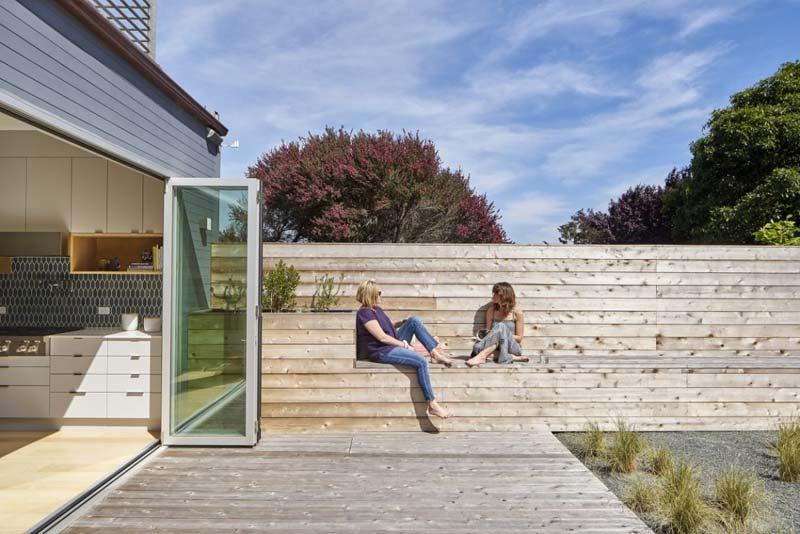 tuin ideeën vaste houten bank