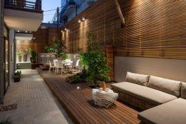 U-vormige tuin van een benedenwoning
