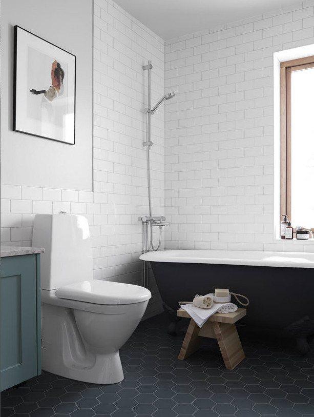 Vintage badkamer met hexagon tegels