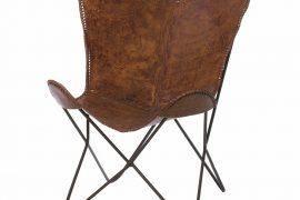vintage-bruine-leren-vlinderstoel
