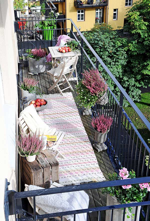 Vloerkleed op het balkon