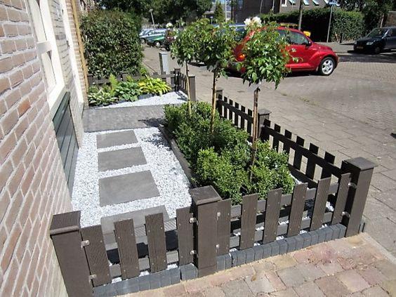 Voortuin ideeën composiet houten hekken