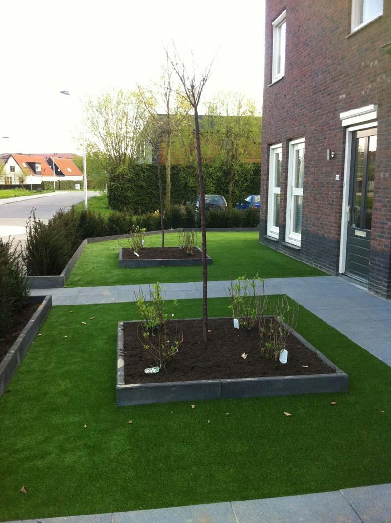 Voortuin ontwerp met gras