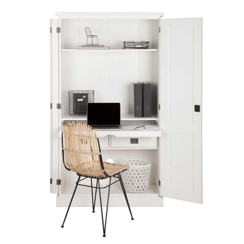 witte houten computerkast