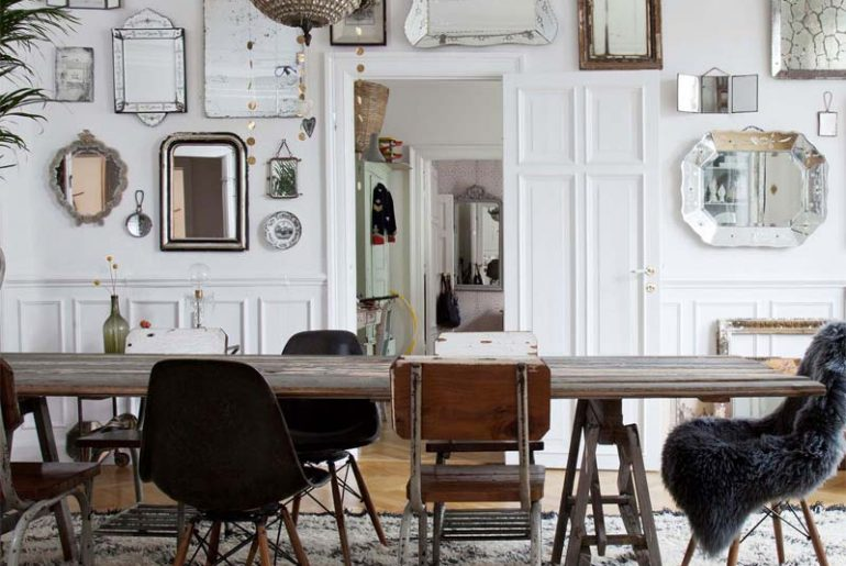 woonkamer ideeen collage van spiegels