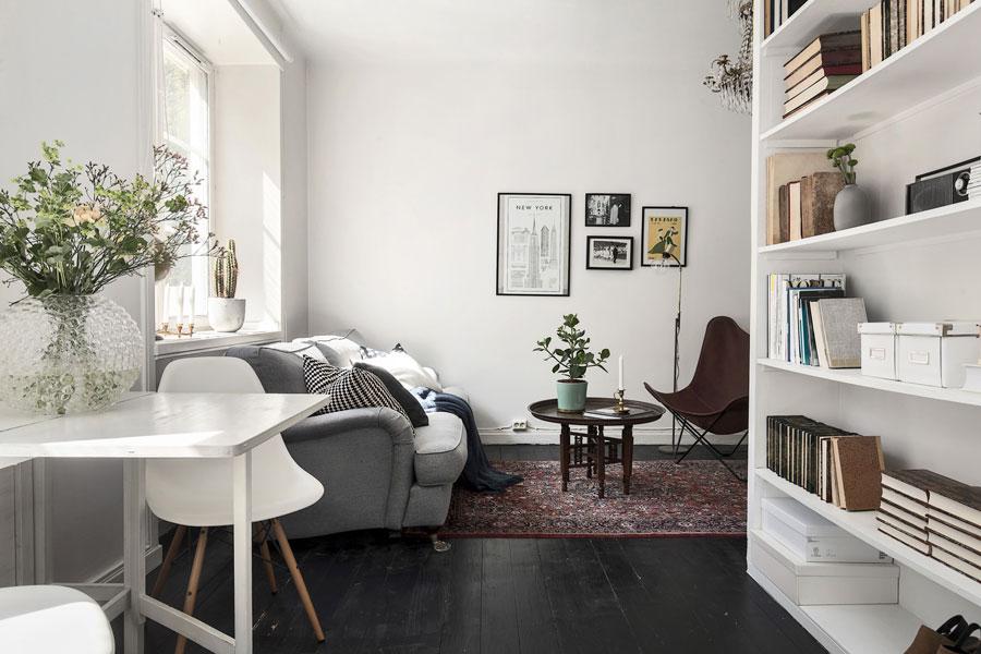 woonkamer ideeen grote boekenkast in kleine woonkamer