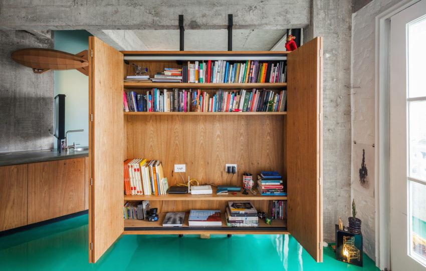 woonkamer ideeen hangende kast aan plafond