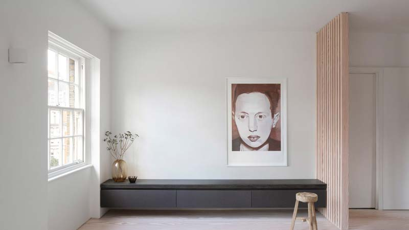 woonkamer ideeen houten scheidingswand