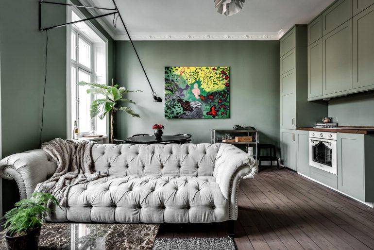 woonkamer ideeen kasten zelfde kleur als muur