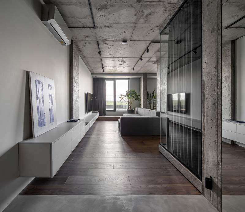 woonkamer ideeën - moderne woonkamer met lange zwevende tv meubel