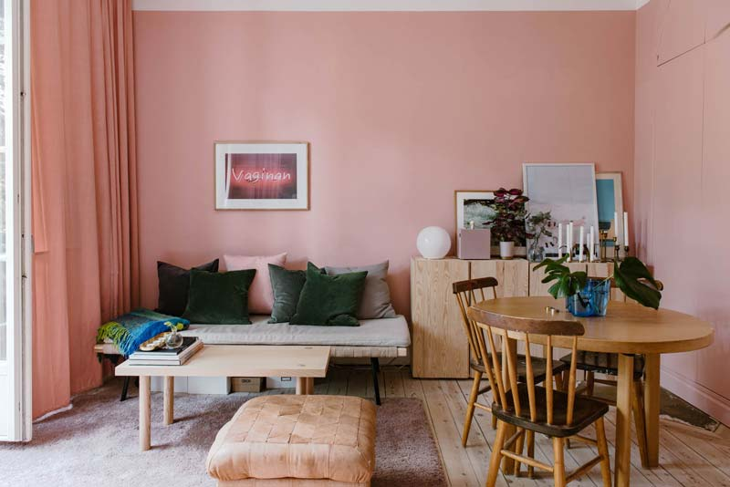 woonkamer ideeen roze muren