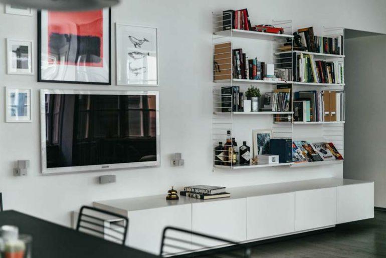 woonkamer ideeen wandrek boven tv meubel