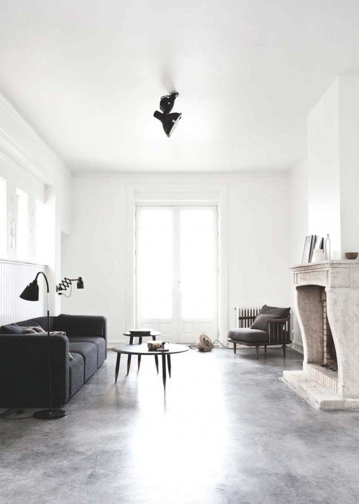 woonkamer inrichten betonvloer