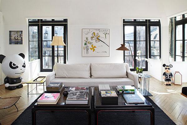 Woonkamer van luxe appartement uit Parijs : HOMEASE