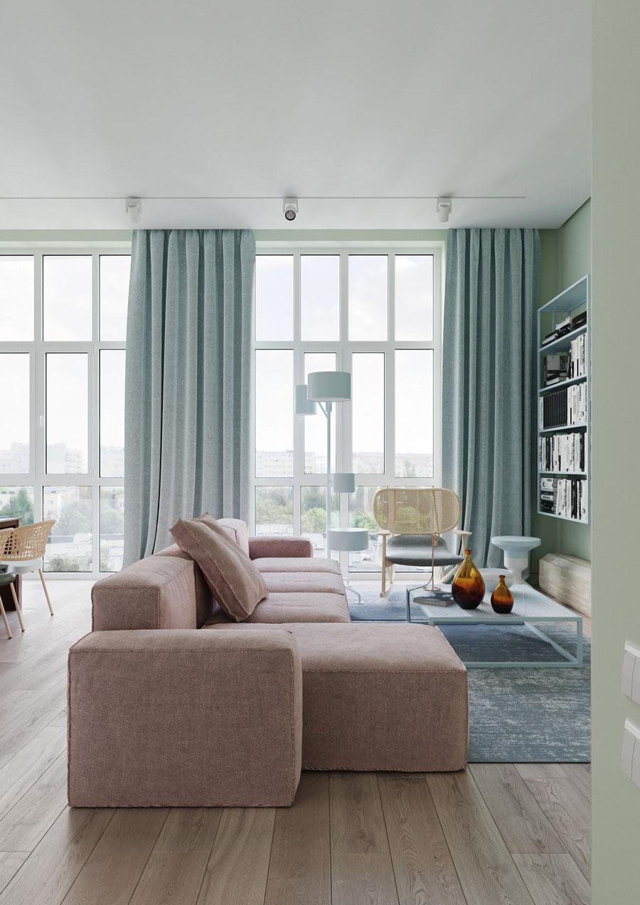 Woonkamer met Scandinavisch design en pastelkleuren