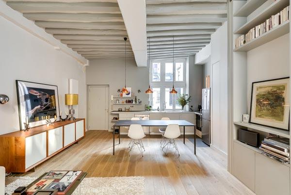 woonkamer met open keuken uit parijs | homease, Deco ideeën