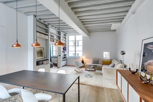 Woonkamer met open keuken uit parijs homease - Kamer parket ...