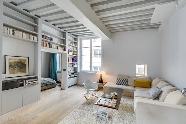 Home » Modern interieur » Woonkamer met open keuken uit Parijs