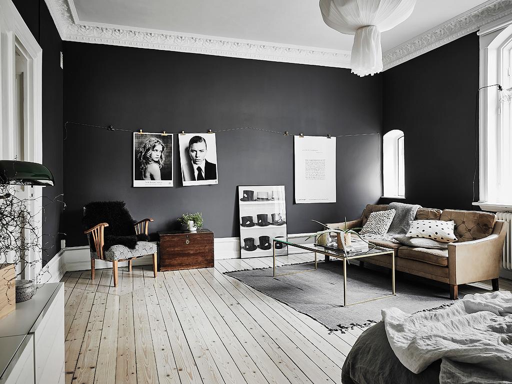 Slaapkamer Zwarte Vloer : Woonkamer slaapkamer combinatie met zwarte muren homease