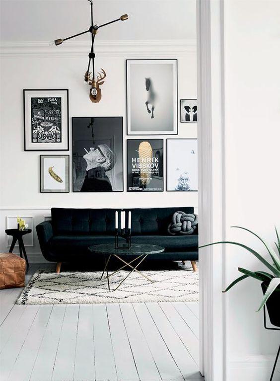 Zwart wit foto 39 s aan de muur homease - Composicion salon ikea ...