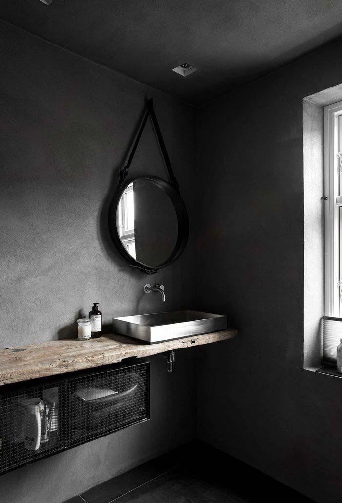 zwarte badkamer zwarte spiegel