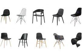 Zwarte design eetkamerstoelen