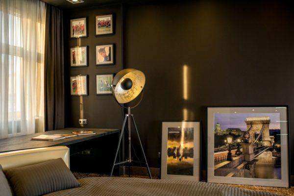 Zwarte grijze slaapkamer